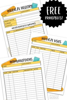 Get Organized for Back to School - Free Medical History Form Printables - for Tracking Kids Doctors Visits, Health Information, and Vaccinations - a Free Download at B-Inspired Mama #ad #SickJustGotReal