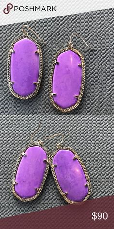 RARE Neon Purple Danielles Great condition. Stones have natural variations. The highlight is just how the sun was hitting the stones. Rare and Discountinued Stone.  Violet colored stone, also known as Neon Violet because it came out with Kendra's other neon colors.   Reasonable offers welcome. Kendra Scott Jewelry Earrings