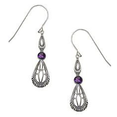 Art Deco Sterling Earringss Accented with a Faceted Amethyst Made in America * Read more reviews of the product by visiting the link on the image.
