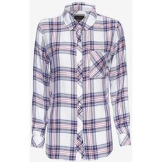 Rails Plaid Shirt: Pink/Navy ($148) ❤ liked on Polyvore featuring tops, shirts, pink button up shirt, pink flannel shirt, navy button down shirt, navy blue collared shirt and plaid shirt