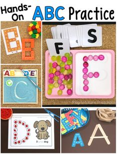 Alphabet Practice Ditch the worksheets with these 10 hands-on ways for preschoolers to practice the alphabet. via the worksheets with these 10 hands-on ways for preschoolers to practice the alphabet. Preschool Writing, Preschool Literacy, Literacy Activities, Kindergarten Classroom, Abc Centers, Preschool Centers, Letter Activities, Letter Games, Alphabet Games