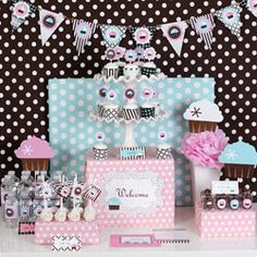 This Cupcake Party Mod Party Kit includes all the essentials for your engagement, wedding, bridal party or birthday! Each accessory in this party kit has a fun cupcake theme design. Baby Shower Table Decorations, Diy Party Decorations, Birthday Decorations, Party Themes, Party Ideas, Birthday Ideas, Theme Parties, Birthday Parties, Event Themes