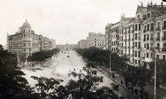 Avenida Felipe II, 1926. Al fondo la antigua Plaza de Toros de Madrid, antes de construirse la Plaza de Toros de las Ventas - Portal Fuenterrebollo