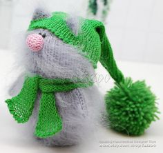 Lincoln Cat knitted toys Amigurumi Cat Green Knit Toy Knitted Cat Little Cat knitted Cats knitted Little toys Cute knit cat Plush cat RTS