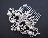 Large crystal hair combbridal hair comb wedding brooch by Amoretto. $55.00, via Etsy.