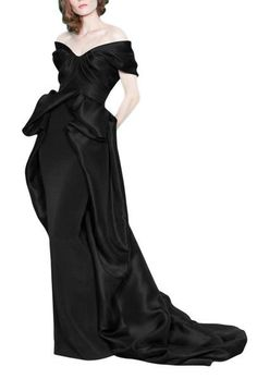 Striking satin black evening dress made in made in satin featuring sheath skirt with satin wrap around skirt all the way to the train, satin bodice with off shoulder neckline. Vintage Evening Gowns, Black Evening Dresses, Black Wedding Dresses, Wedding Dress Styles, Wedding Suits, Prom Dresses, Wrap Wedding Dress, Wrap Around Skirt, Affordable Wedding Dresses