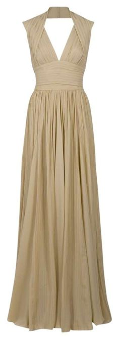 This dress is a 2011 Elie Saab halter-neck pleated gown in Sand color purchased exclusively from Elie Saab boutique headquarters in Beirut, Lebanon for a royal wedding. It is perfectly structured arou