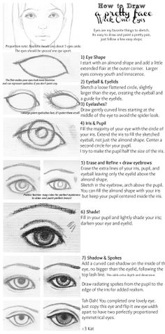 How to draw eyes infographic --Drawing is easy as soon as you break everything down into smaller steps.  Realistic eyes really make a portrait, and you can draw them!