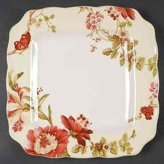 222 Fifth Summer Botanical Lutece Fleur Rouge Square Dinner Plate 8777274 | eBay