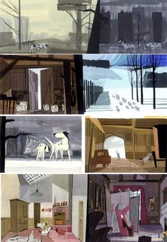 "Color keys from ""One Hundred and One Dalmatians"" (1961).  By Walt Peregoy, '101 Dalmatians' Color Stylist"