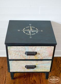 furniture display My Passion For Decor: Vintage Map Nightstand Furniture Projects, Furniture Makeover, Diy Furniture, Furniture Vintage, Repurposed Furniture, Travel Bedroom, Travel Room Decor, Travel Themed Rooms, Map Themed Room