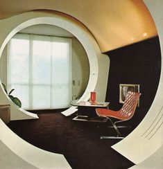 Vintage Interior Design Interiors Today by Franco Magnani, 1974 - From living room forts to chic space-age escapes, Supreme Interiors on the power of the portal to turn your home into a refuge Interior Architecture, Interior And Exterior, Inspiration Room, Retro Interior Design, Design Interiors, Futuristic Interior, Retro Futuristic, Vintage Interiors, Retro Home Decor
