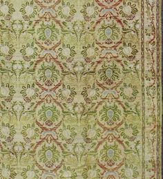Hand-Knotted Antique Spanish Rug with Circular Floral Medallions in Golden Green and Red For Sale