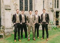 Groomsmen in Tweed & Brown Wedding Suits | Elegant literature themed wedding at Long Barn, Childerley Hall | Images by Hannah Duffy Photography | http://www.rockmywedding.co.uk/eleanor-james/