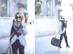 LOOK CON JEANS Y BOTAS POR ENCIMA DE LA RODILLA II  Look with jeans  oversized jumper, OTK boots, Maxi scarf fashion blogger street style