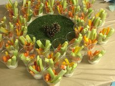 Veggie sticks in ranch cups, woodsy nature tribal theme party Young Wild Free, Wild And Free, Tribal Theme, 10th Birthday Parties, Arrows, Aztec, Sticks, Party Themes, Ranch