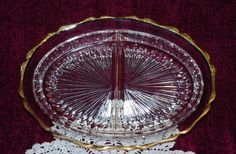 Clear Glass Oval Divided Serving Tray With Sunburst Bottom And Gold Trim