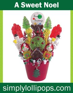 We have a gift for the holidays that everyone is sure to enjoy. This Christmas ceramic is overflowing with 16 gourmets, hard-candy festive lollipops. All lollipops are individually wrapped and are wonderful for sharing. Presents, snowmen, wreaths, and ornaments are all centered around a Season's Greetings delicious design lollipop. Not only beautiful but great tasting too! Marshmallow, watermelon and chocolate are just a few of the delicious flavors to be enjoyed by all.