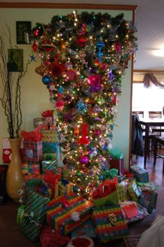 Kerri's Bottom Upside-Down Tree! More space for everyone's Christmas presents!