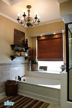 Bathroom redo with link to blog- (paint brass parts of shower oil rubbed bronze-DIY!!)