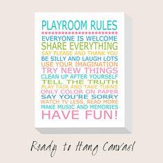 Playroom Rules Nursery Decor CANVAS ART Print  Nursery by Tessyla