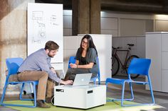 Power Cube combines power and communication with a writeable table top to support learning.