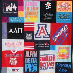 Sorority t shirt Memory quilt from Arizona