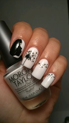 Make a Wish Dandelion - nail design , #nailart