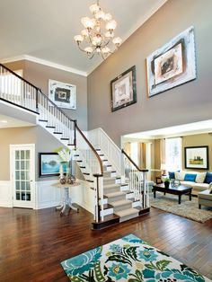 Add a colorful rug in the foyer to help give your home an entrance to remember