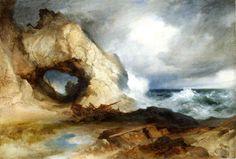 thomas moran watercolor | Thomas Moran >> The Cavern, California Coast (aka Sinbad Wrecked ...