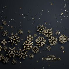 fundo preto impressionante com flocos de neve de ouro para o Feliz Natal Vetor grátis