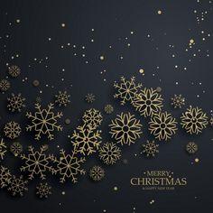 Fondo navideño negro con copos de nieve dorados Vector Gratis
