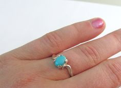 Sleeping Beauty Turquoise Gemstone Ring in Sterling Silver