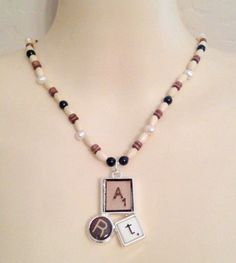 """New Genuine Pearl White Pearls Black Onyx Wood Art Pendant Necklace 17"""" #Statement #necklace #art #fashion #pearl"""