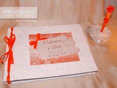 Libro degli ospiti o Guestbook, bianco e arancione, coordinato con Penna
