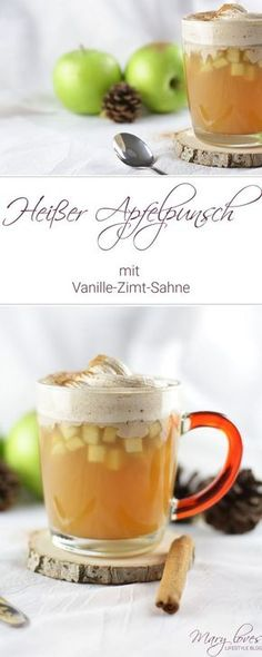Hot apple punch with vanilla-cinnamon cream - Mary Loves Heißer Apfelpunsch mit Vanille-Zimt-Sahne - Mary Loves Hot apple punch with vanilla-cinnamon cream [non-alcoholic] - punch # warm drink cinnamon cream Smoothie Bol, Cake Recipes, Dessert Recipes, Vanilla Cream, Vegetable Drinks, Fall Desserts, Cinnamon Desserts, Non Alcoholic, Winter Food