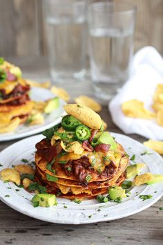 Crockpot Chicken Chili Con Carne Tostada Stacks from @Heather Creswell Creswell Creswell Creswell Flores Baked Harvest