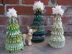 cute little christmas trees made from recycled sweaters