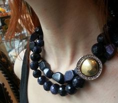 Large dark navy blue goldstone nuggets necklace - large statement necklace with silver and gold piece.