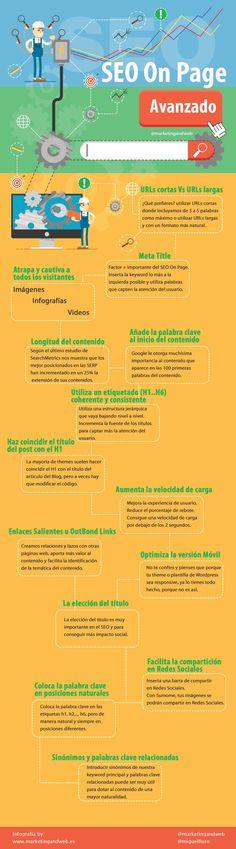 Una gran selección de útiles consejos para practicar un buen SEO On Page avanzado, se muestran de forma gráfica en una infografía en español.
