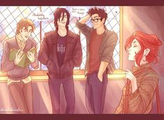 HP fan art Lupin, Black, Potter and Evans>>> OH MAH GODS, SIRIUS IS WEARING A BEATLES SHIRT!!!!!!!!!!!!!!!!!!!!!!!!!!!