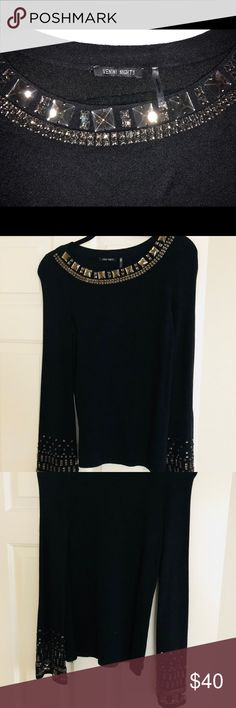 Venini Rhinestone Sweater NWOT! Never worn! All rhinestones intact - gunmetal/brown in color! Nice and heavy for the cold months! Long sleeves have rhinestones as well as neckline! Pet and smoke free household! No holes, marks, tears or stains! Offers welcome! Venini Sweaters
