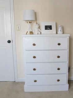 Simple bedroom bureau makeover for baby's nursery | Market Street Petite blog #diy #nurserydecor #diydresser