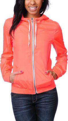 Zine Girls Neon Coral Windbreaker Jacket