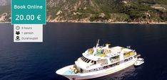 """The Cruise to Mount Athos departs from Ouranoupolis twice a day with the """"Captain Fotis"""" boat of 300 seats. Halkidiki Greece, Stuff To Do, Things To Do, Thessaloniki, Beach Walk, Online Tickets, The Visitors, Beautiful Gardens, Books Online"""