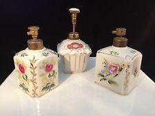 Antique Set of 3 Porcelain Perfume Bottles Atomizer Kalk German Luster Floral