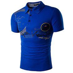 801c9c71 Men's Daily Active Cotton Slim Polo - Letter Print Shirt Collar White L /  Short Sleeve / Summer