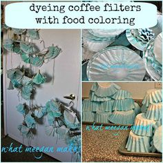 How To Dye Coffee Filters With Food Coloring Coffee Filter Art, Coffee Filter Crafts, Coffee Filters, Diy Arts And Crafts, Fun Crafts, Crafts For Kids, Paper Crafts, Creative Crafts, Book Page Garland