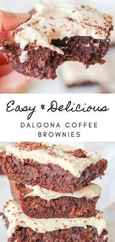 Dalgona coffee espresso brownies. Is there anything better than coffee flavored desserts? These coffee brownies are my chocolate coffee desserts take on the popular easy dalgona coffee recipes - if you love desserts with coffee, you need! Easy fudgy chocolate brownies, topped with espresso whipped cream as coffee frosting. The best espresso desserts! And this is a dalgona coffee recipes without instant coffee dalgona coffee recipes chocolate / how to make dalgona coffee / sweet coffee…