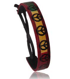Bracelet Cuir Peace Jamaique Motif Rouge